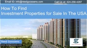 How To Find Investment Properties for Sale In The USA